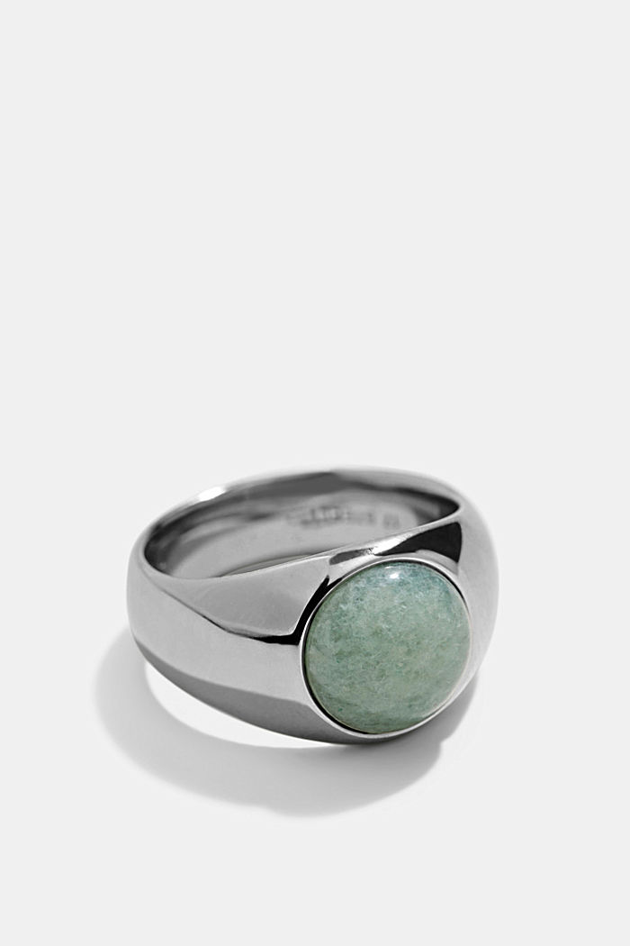 Ring with gemstone in stainless steel