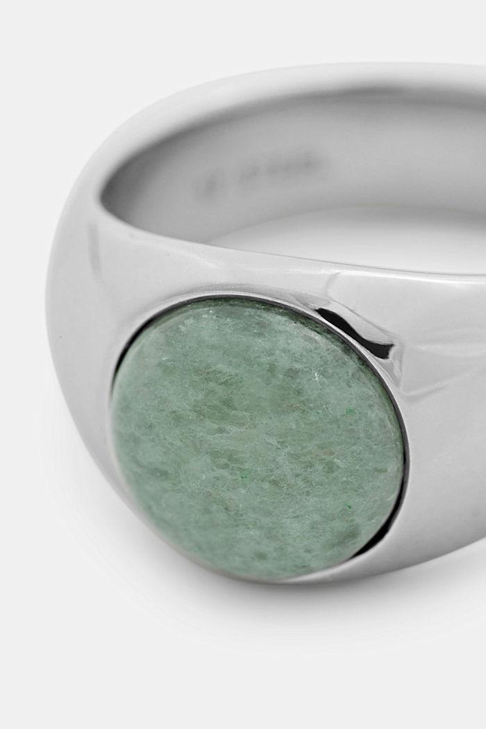 Ring mit Schmuckstein aus Edelstahl, SILVER, detail image number 1