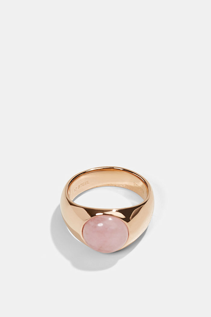 Stainless-steel signet ring, ROSEGOLD, detail image number 0