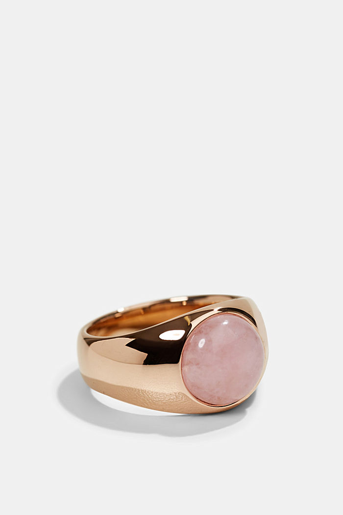 Stainless-steel signet ring, ROSEGOLD, detail image number 1