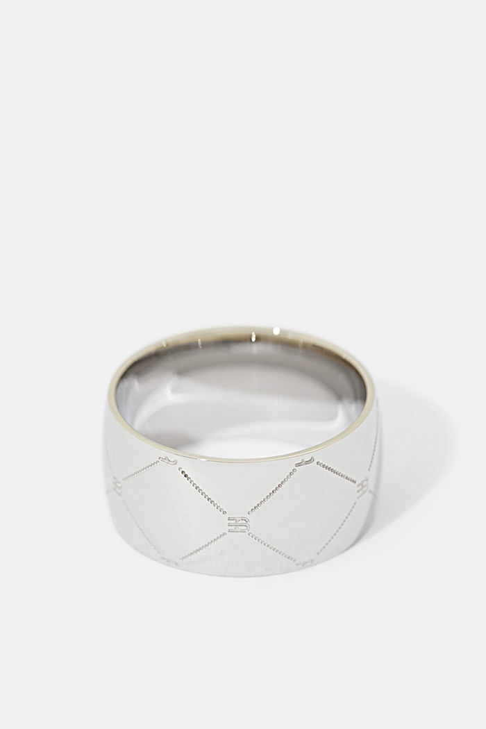 Ring with monogram in stainless steel