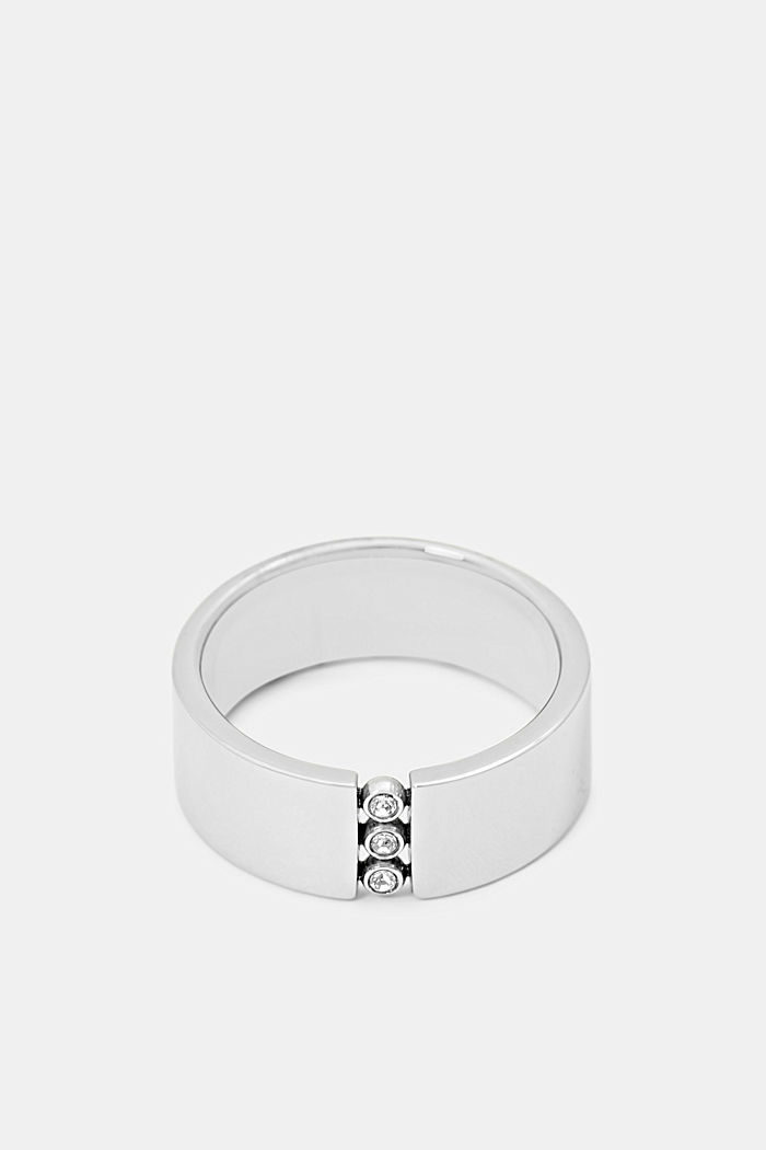 Stainless-steel ring trimmed with zirconia, SILVER, detail image number 0