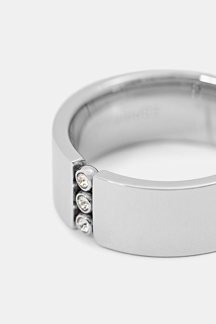 Stainless-steel ring trimmed with zirconia, SILVER, detail image number 1