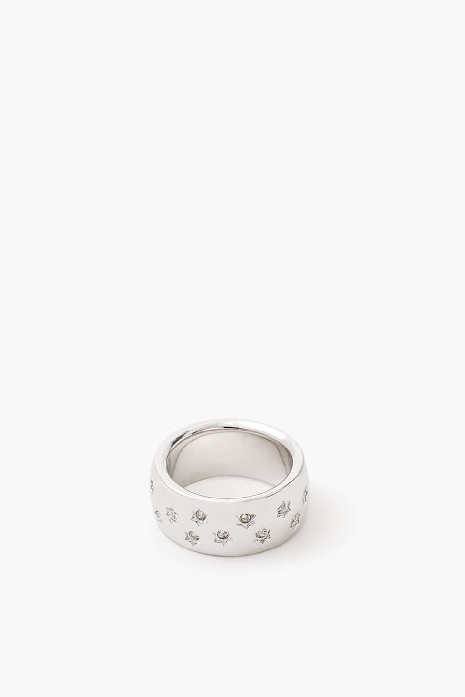 Metal ring with zirconia stars