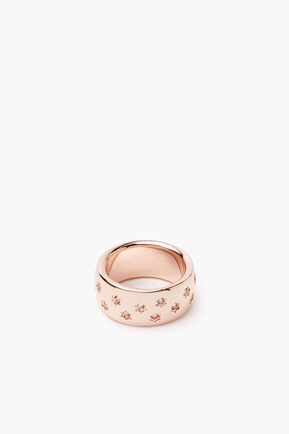 Polished metal ring with rose gold plating and sparkling stars in zirconia, width approx. 10 mm