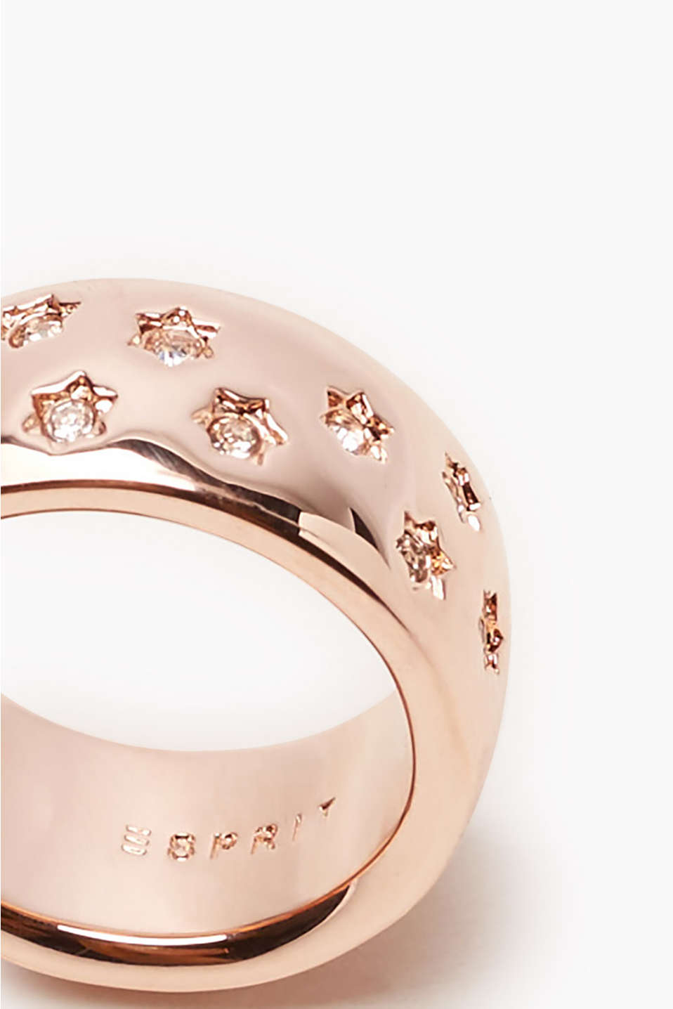 Gold-plated ring with zirconia stars