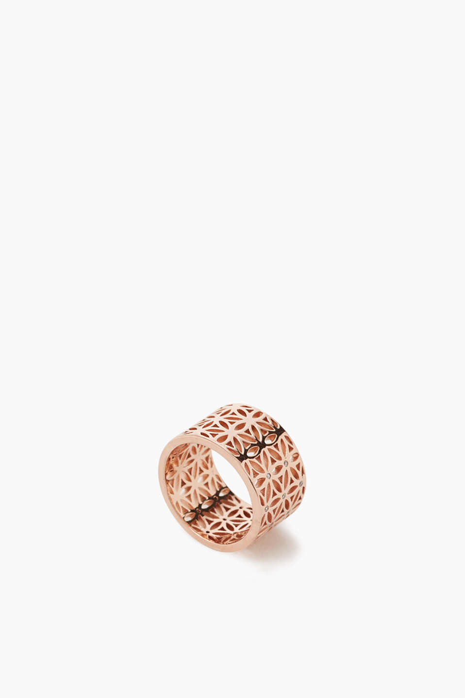 Gold-plated metal ring with zirconia stones