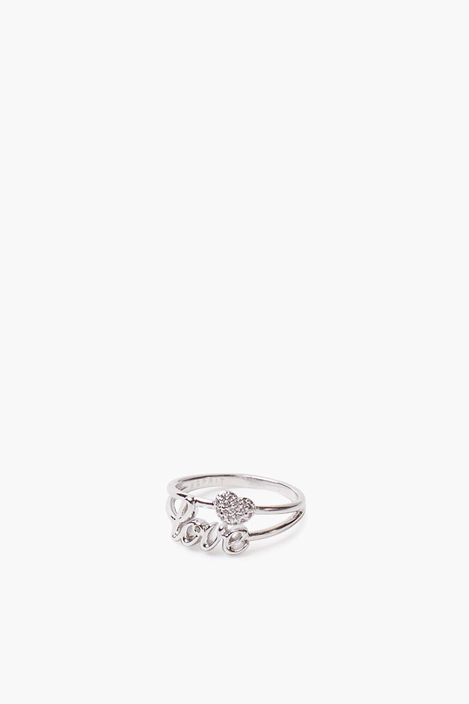 Metal love ring with zirconia