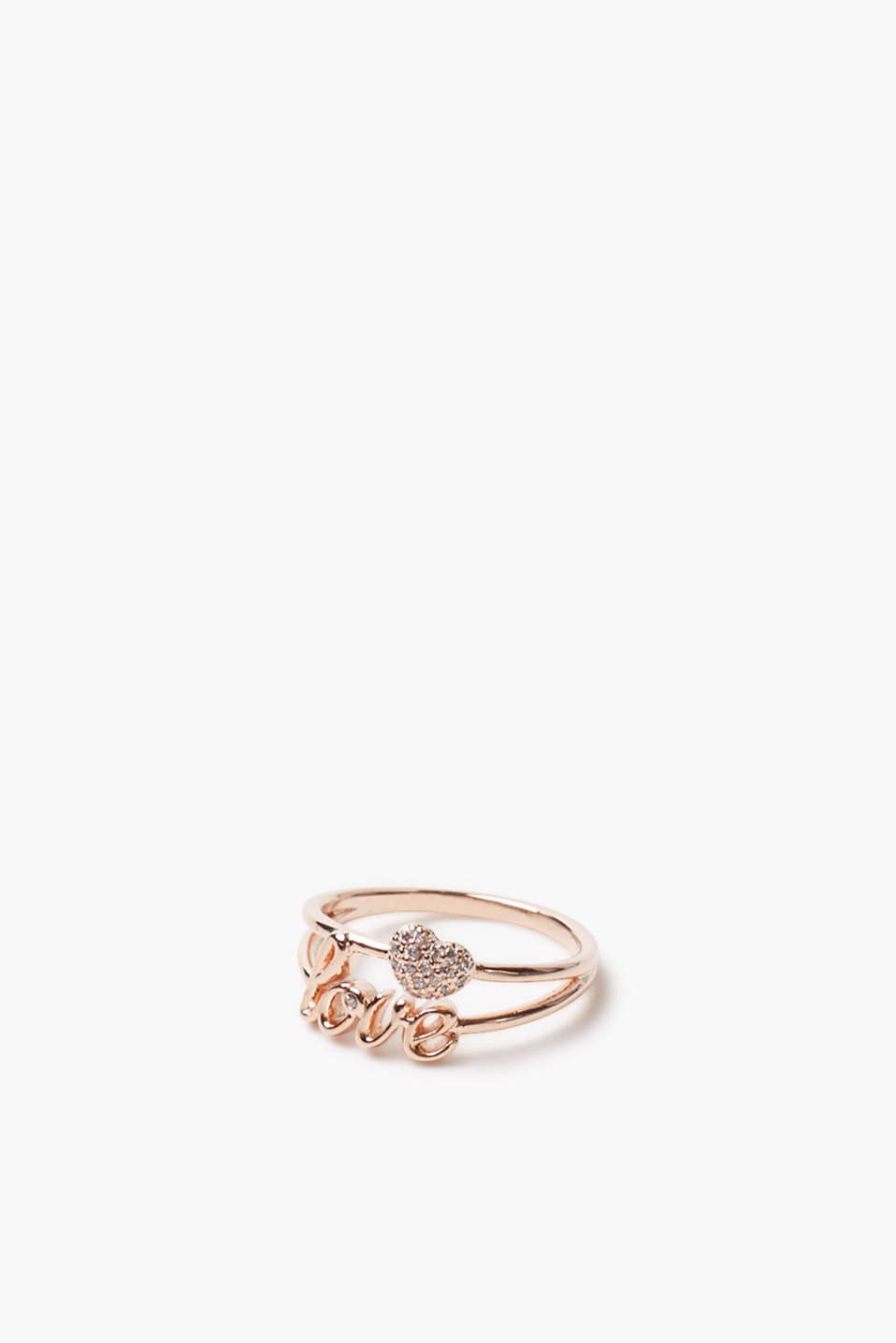 Esprit - Bague love, placage or rouge, zircone