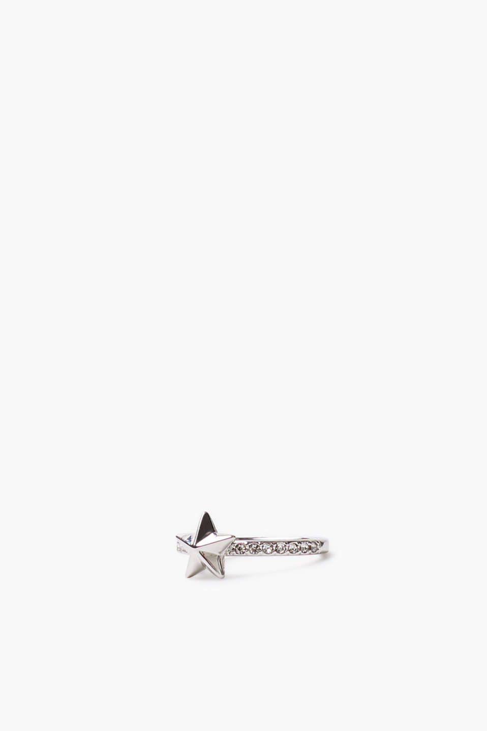 Ring with a star, made of metal and zirconia
