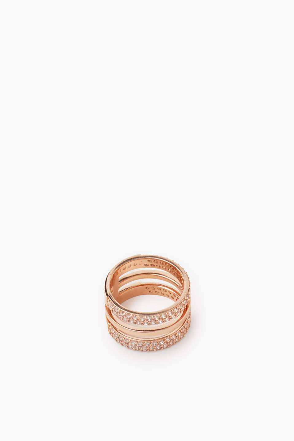 Gold-plated metal ring with zirconia