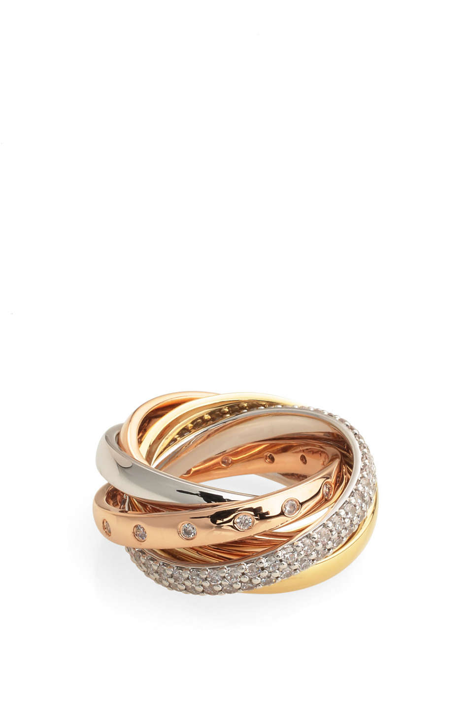 five entwined rings made from shiny metal (brass), partially gold-plated, set with zirconia