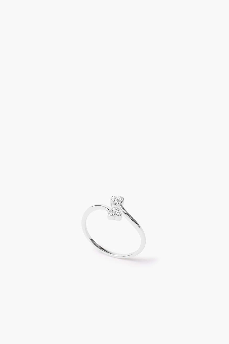 Esprit - Sterling silver / zirconia ring with hearts
