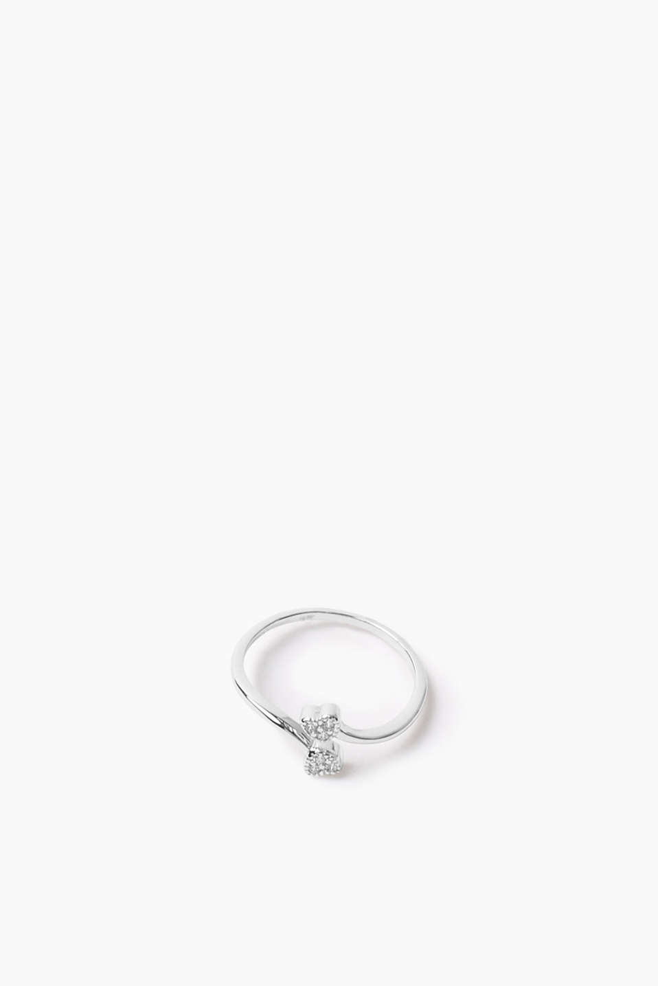 Sterling silver / zirconia ring with hearts