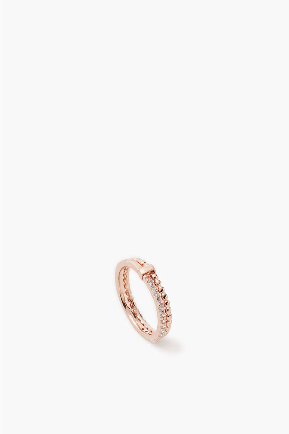 Gold-plated, sterling silver ring made of two bands with different designs and zirconia trim, width approx. 4 mm