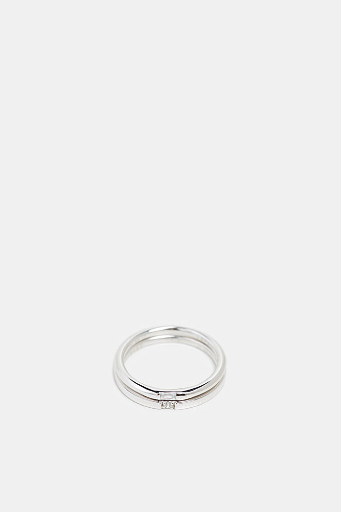 Twin ring with a zirconia stone, sterling silver, SILVER, detail image number 0