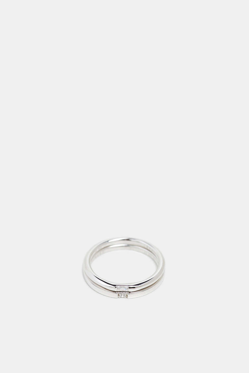 Twin ring with a zirconia stone, sterling silver, SILVER, detail
