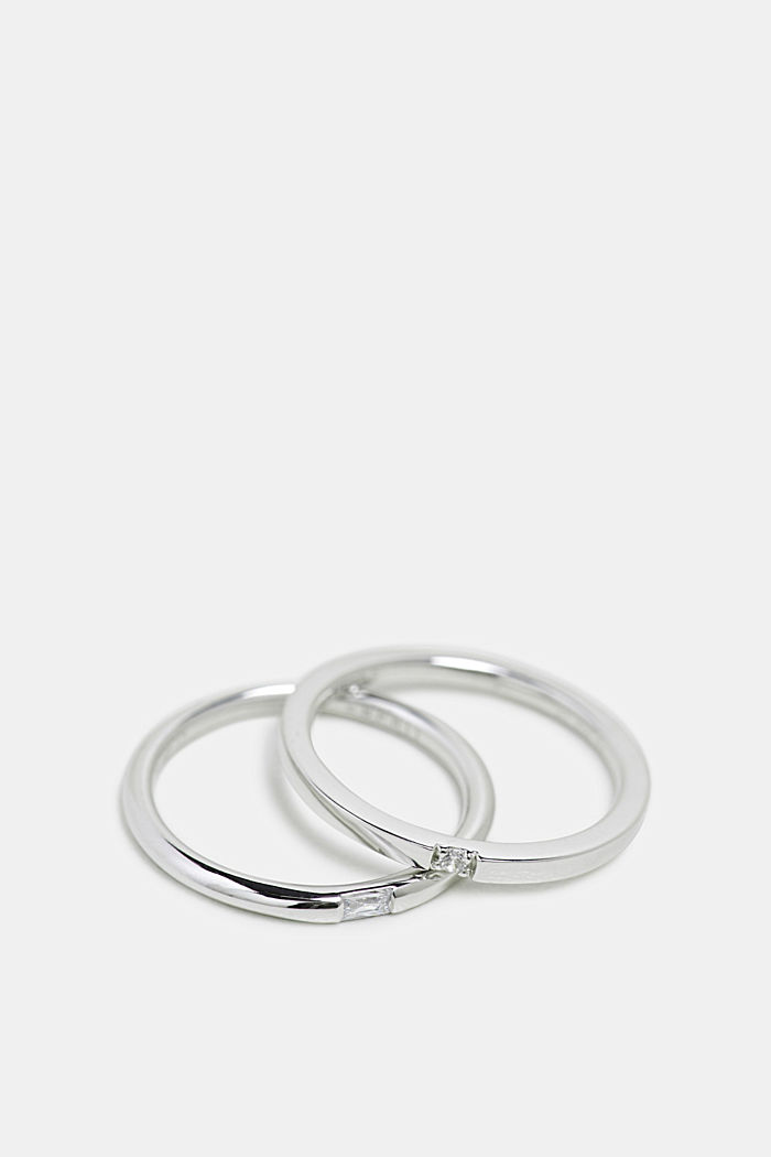 Twin ring with a zirconia stone, sterling silver, SILVER, detail image number 1
