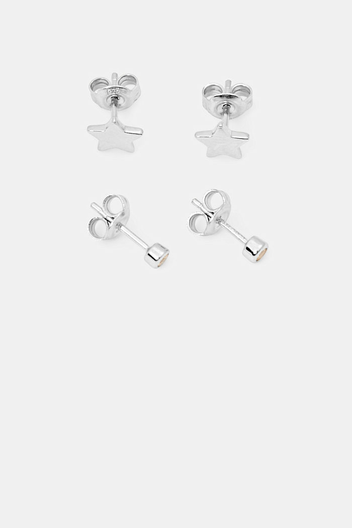 Set doble de pendientes en plata de ley, SILVER, detail image number 0