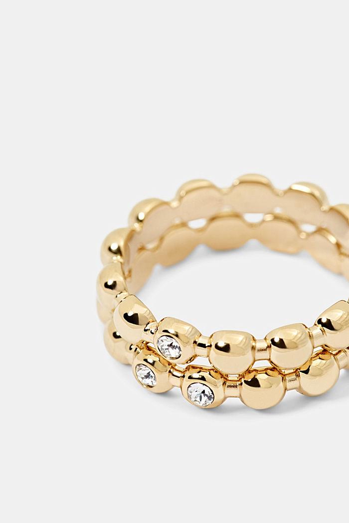 Set van edelstalen ringen met zirkonia, GOLD, detail image number 1