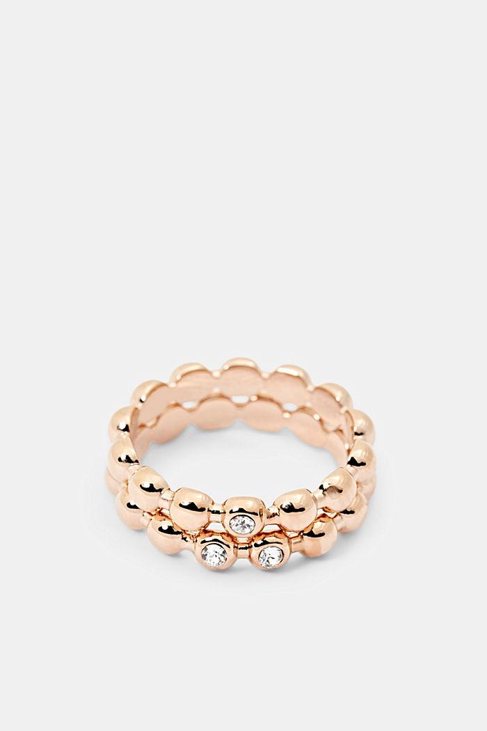 Set van edelstalen ringen met zirkonia