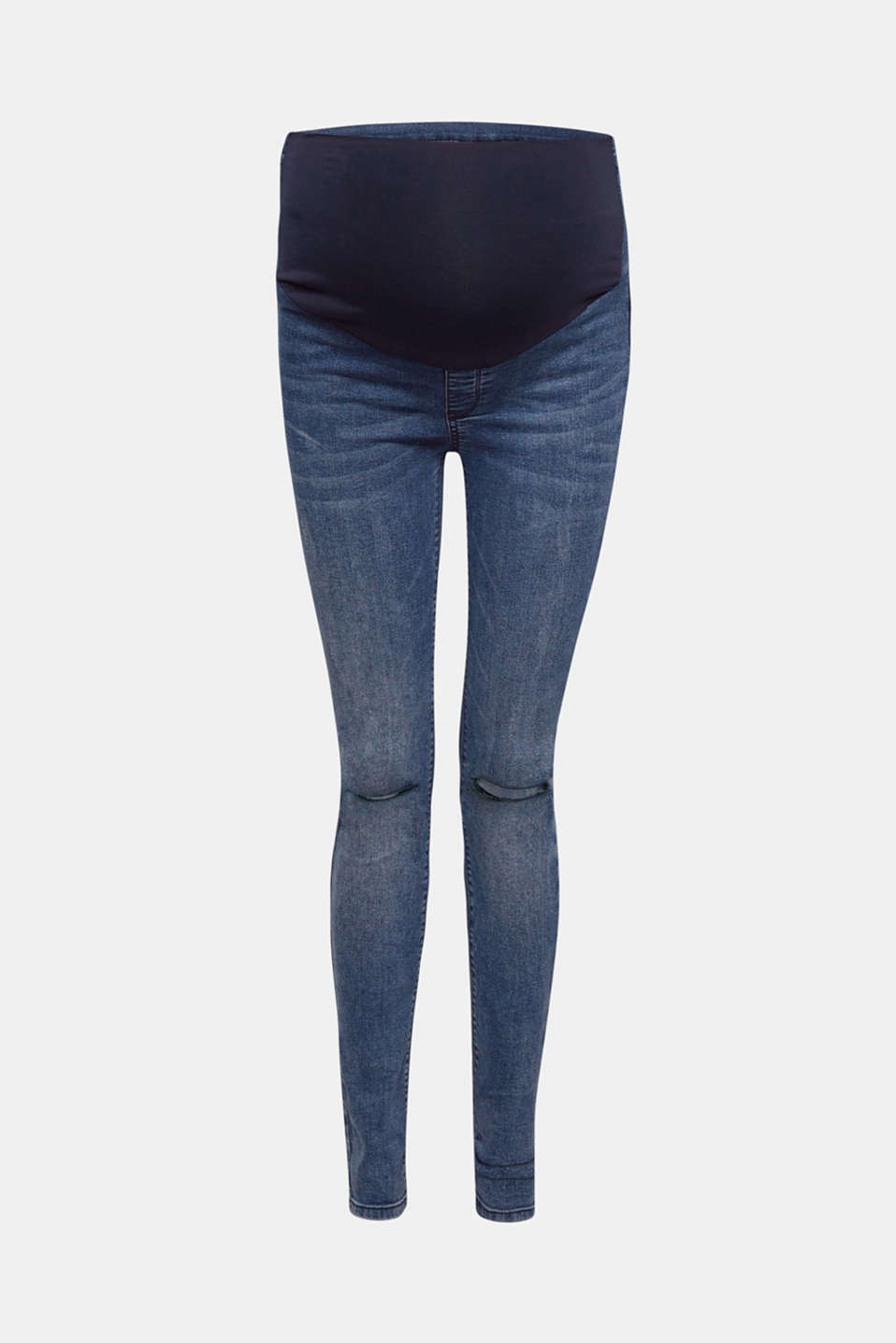 The cool garment wash and cut-outs at knee height give these jeggings with an adjustable over-bump waistband their stylish look!