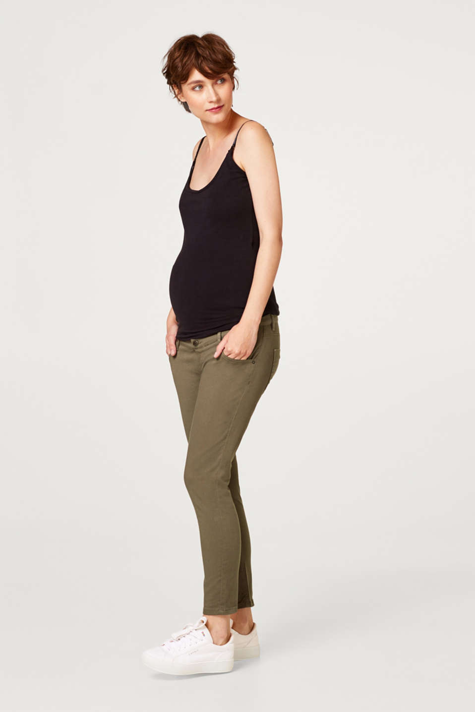 Esprit - Stretch trousers with a versatile over-bump waistband