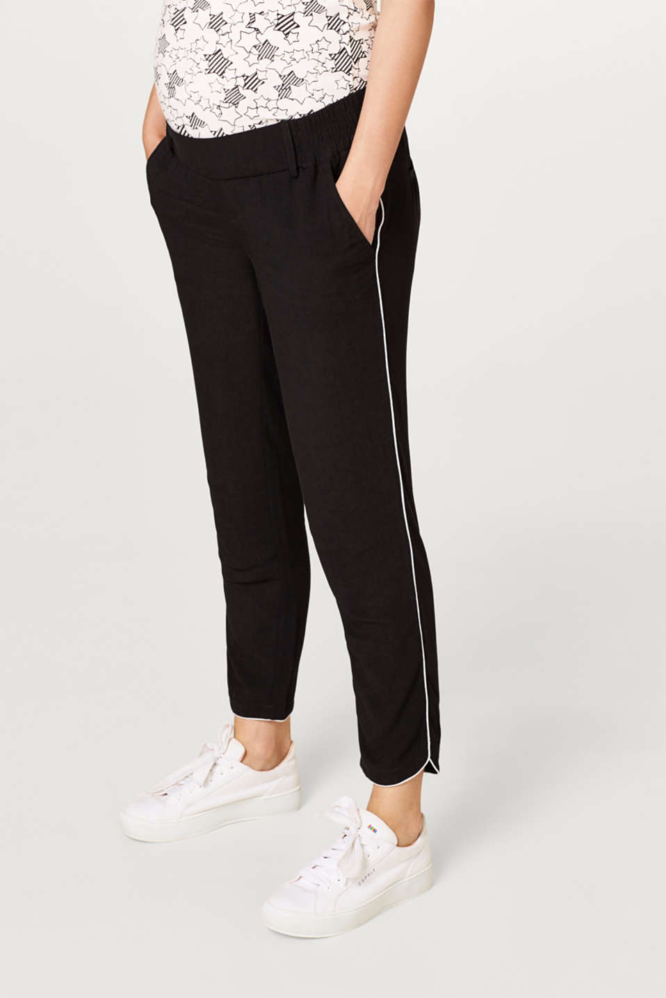 Esprit - Piped trousers with an under-bump waistband