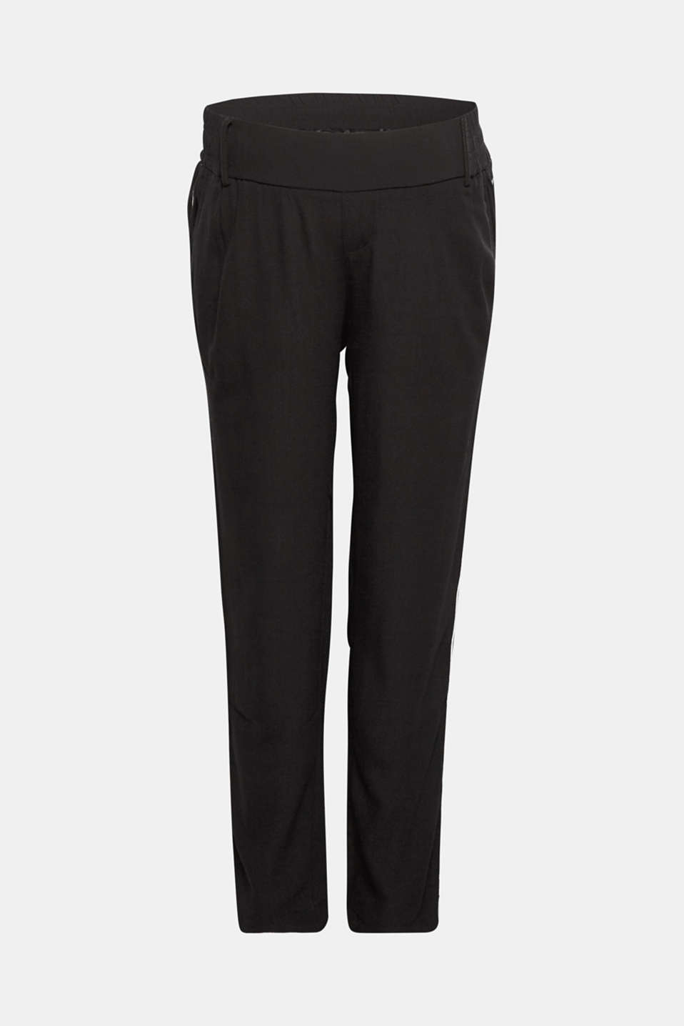 Piped trousers with an under-bump waistband, LCBLACK, detail image number 0