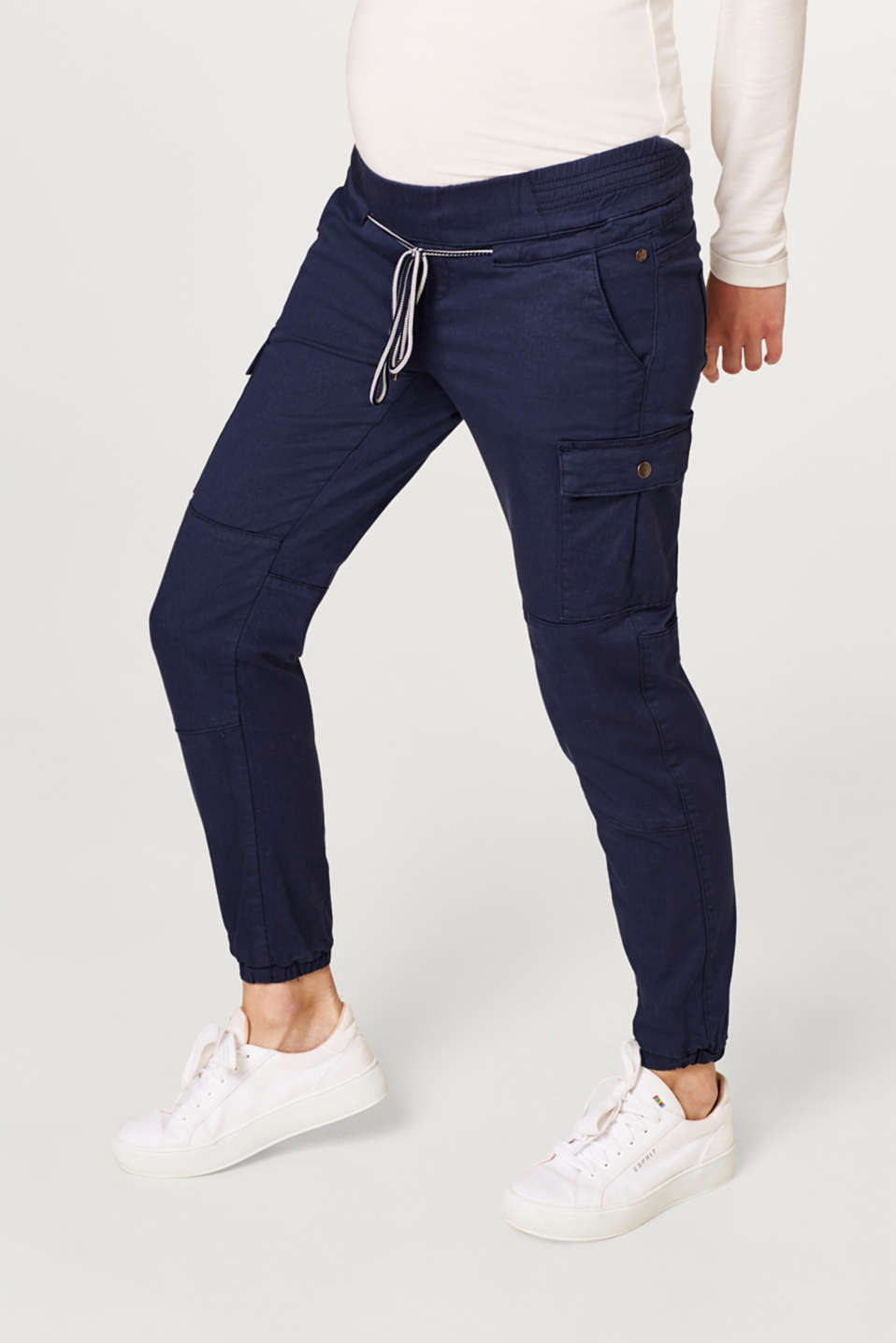 Stretch cargo trousers with an under-bump waistband, LCNIGHT BLUE, detail image number 6