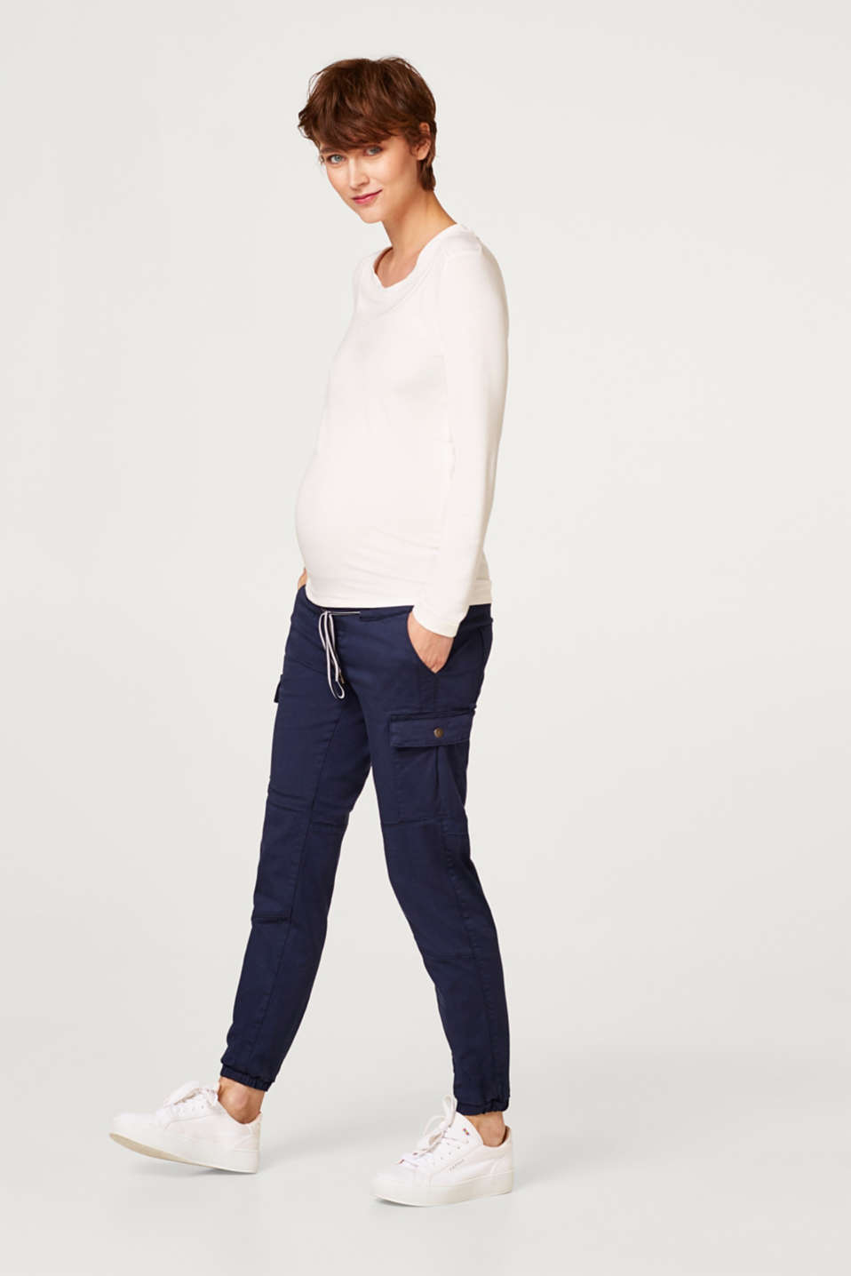 Stretch cargo trousers with an under-bump waistband, LCNIGHT BLUE, detail image number 1