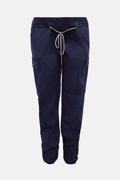 Stretch cargo trousers with an under-bump waistband