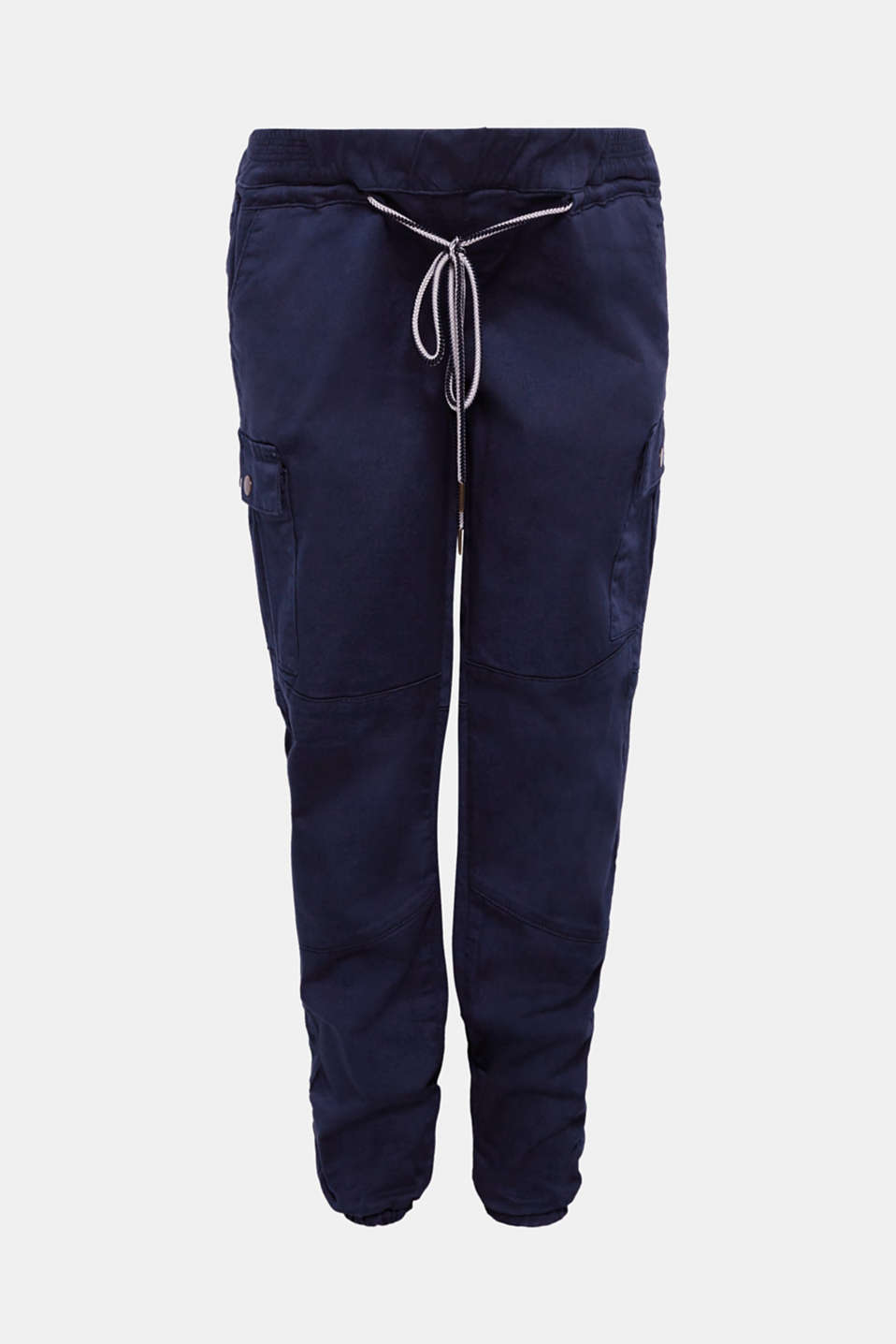 Stretch cargo trousers with an under-bump waistband, LCNIGHT BLUE, detail image number 0