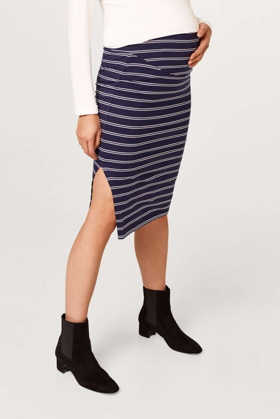Esprit - Stretch jersey midi skirt with an over-bump waistband