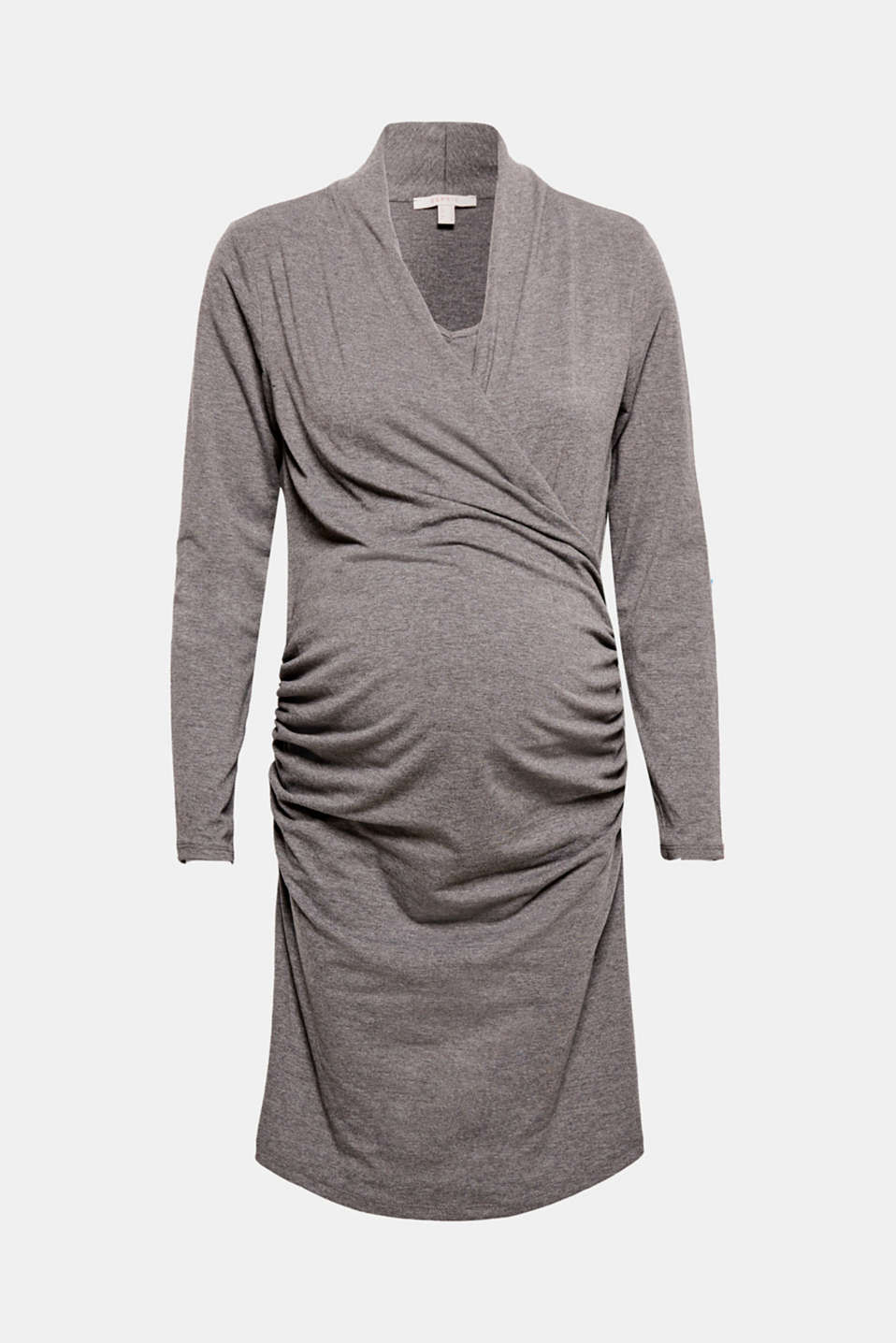 This comfy, stretch jersey dress featuring a shawl collar, striking gathering and easy nursing options is feminine and functional!