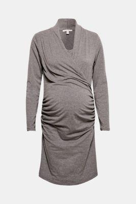Stretch jersey nursing dress, DARK GREY MELANGE, detail