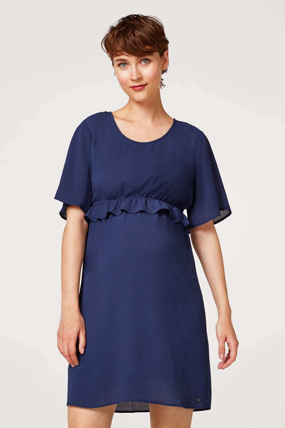 Crêpe dress with a waist frill, LCNIGHT BLUE, detail image number 0