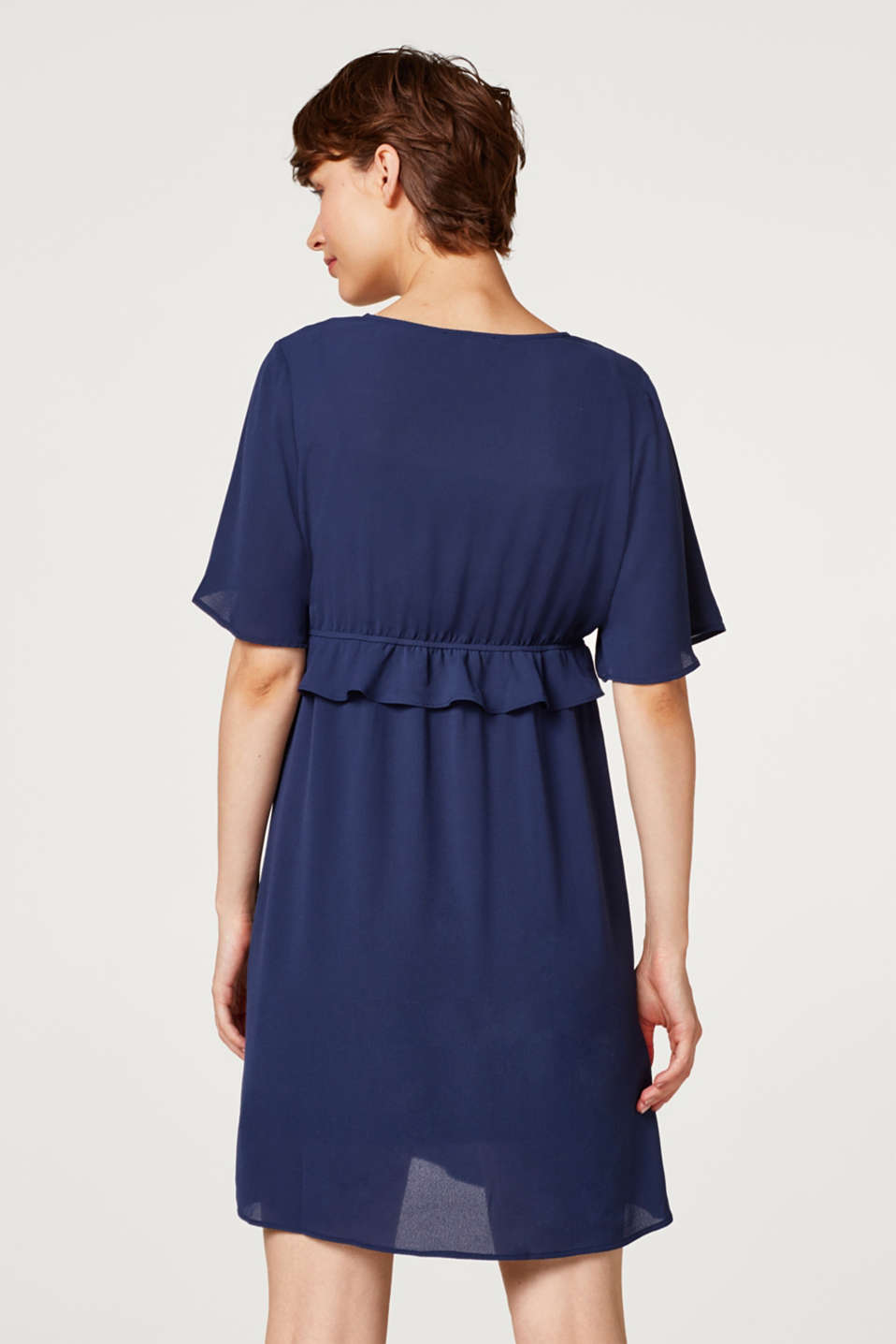 Crêpe dress with a waist frill, LCNIGHT BLUE, detail image number 3