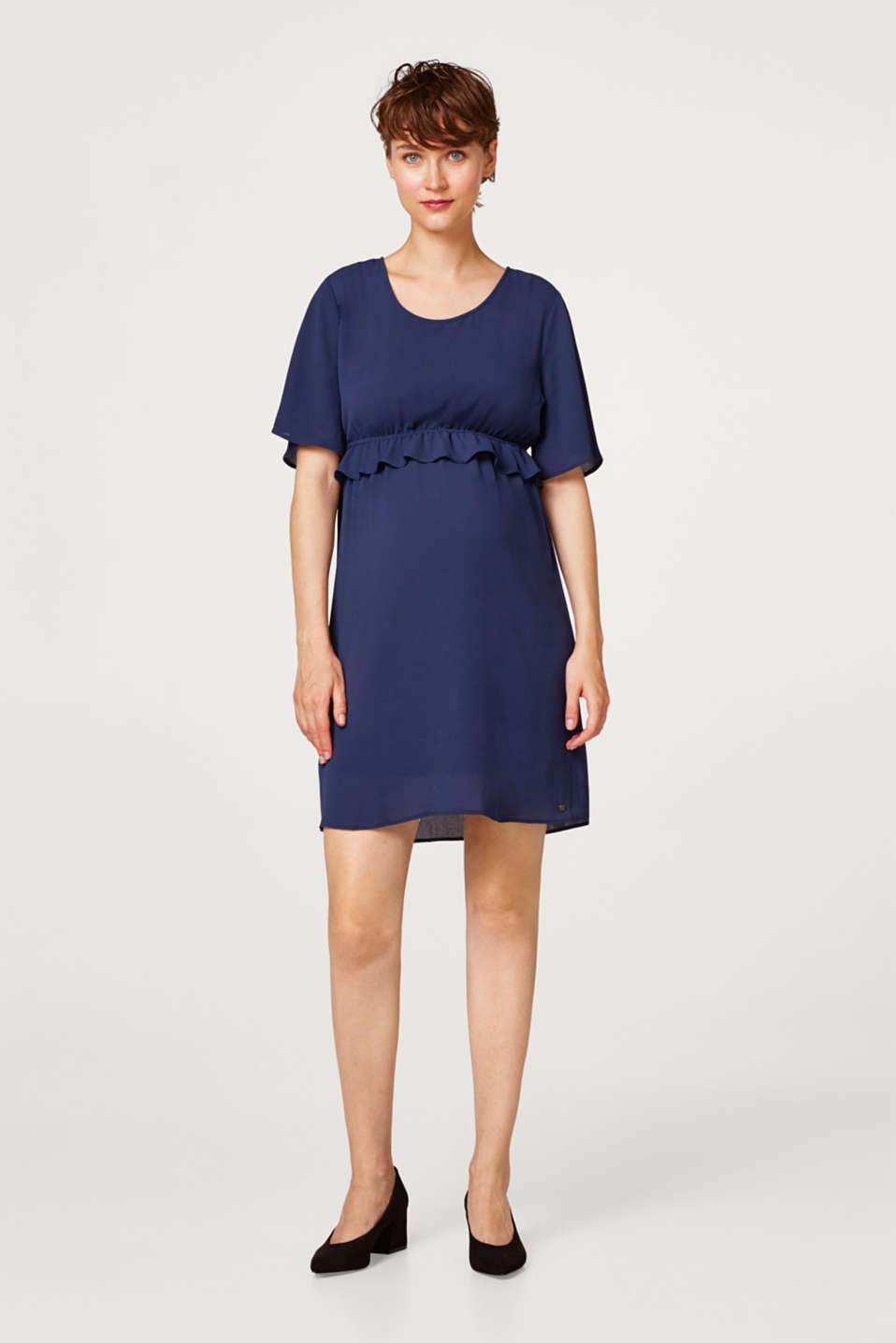 Crêpe dress with a waist frill, LCNIGHT BLUE, detail image number 1