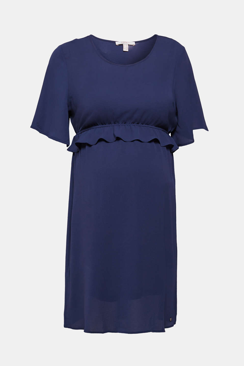 Crêpe dress with a waist frill, LCNIGHT BLUE, detail image number 6