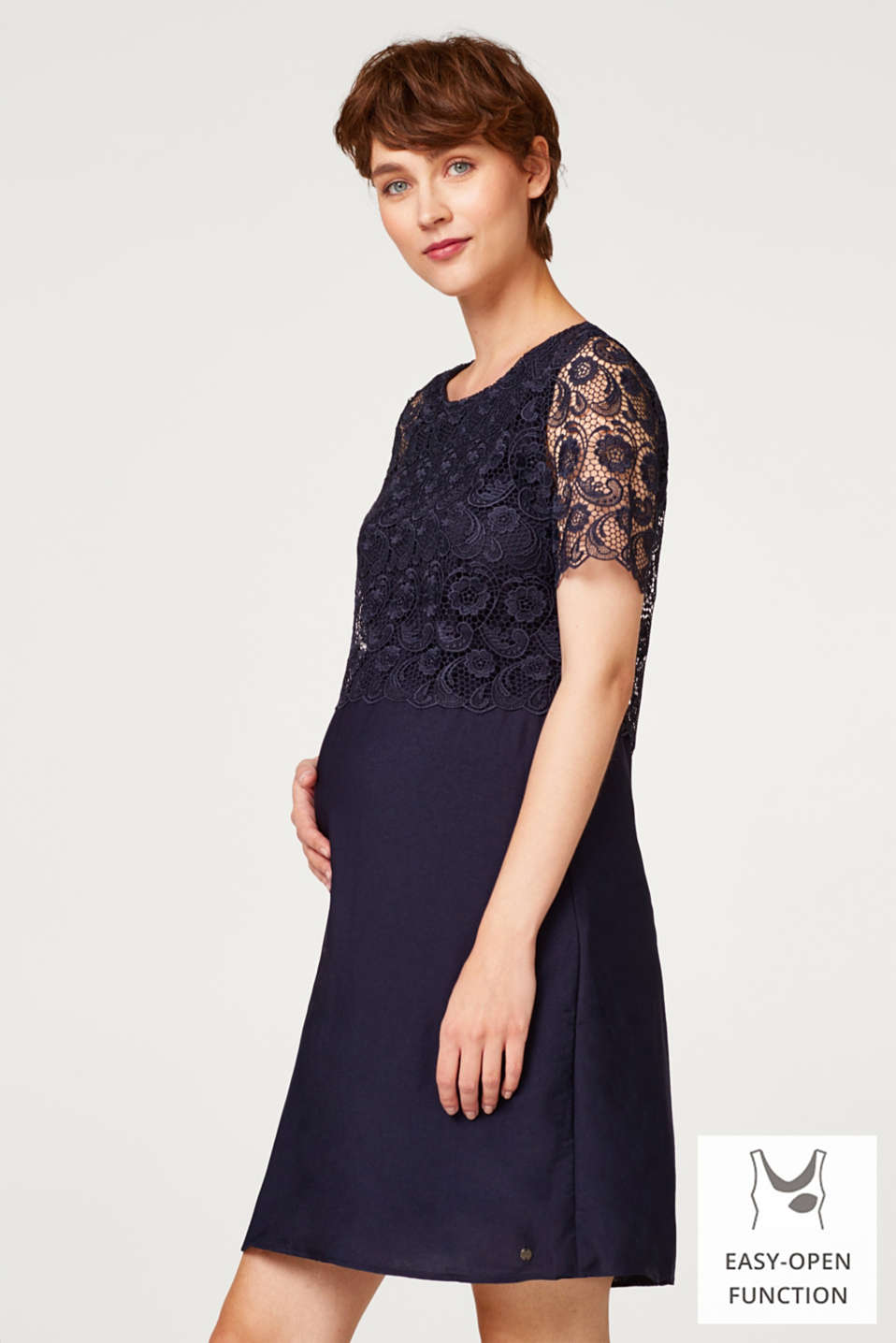 Dress with lace and nursing access, LCNIGHT BLUE, detail image number 0
