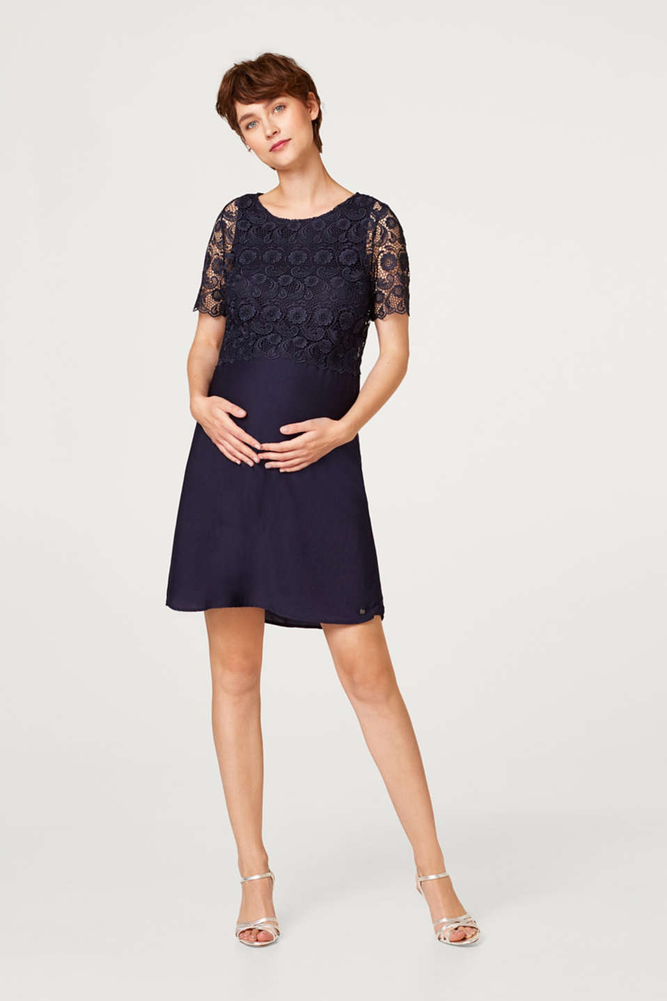 Dress with lace and nursing access, LCNIGHT BLUE, detail image number 1