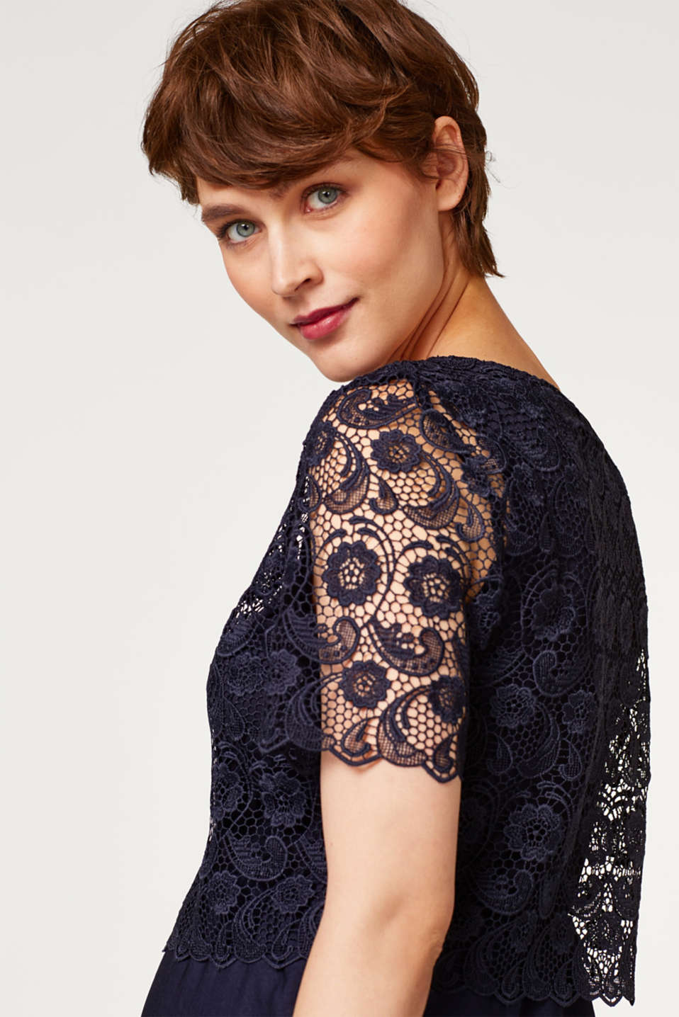 Dress with lace and nursing access, LCNIGHT BLUE, detail image number 2