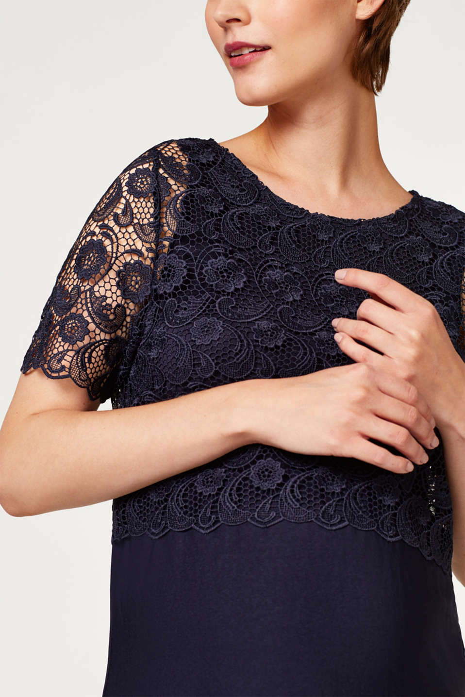 Dress with lace and nursing access, LCNIGHT BLUE, detail image number 5