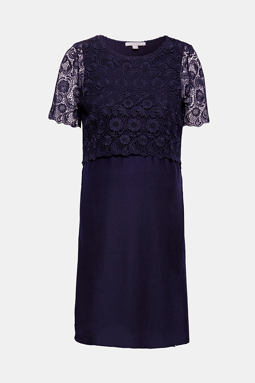 Dress with lace and nursing access