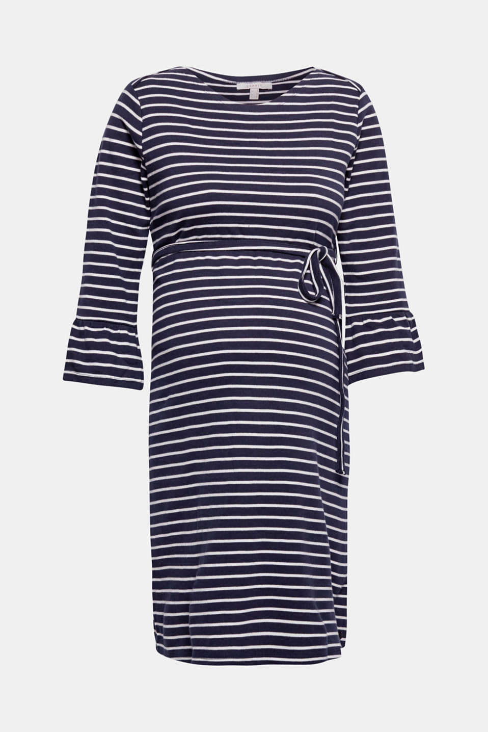 Introducing your new fave dress made of premium, environmentally-friendly organic cotton: featuring sporty stripes, cropped bell sleeves and a flared silhouette!