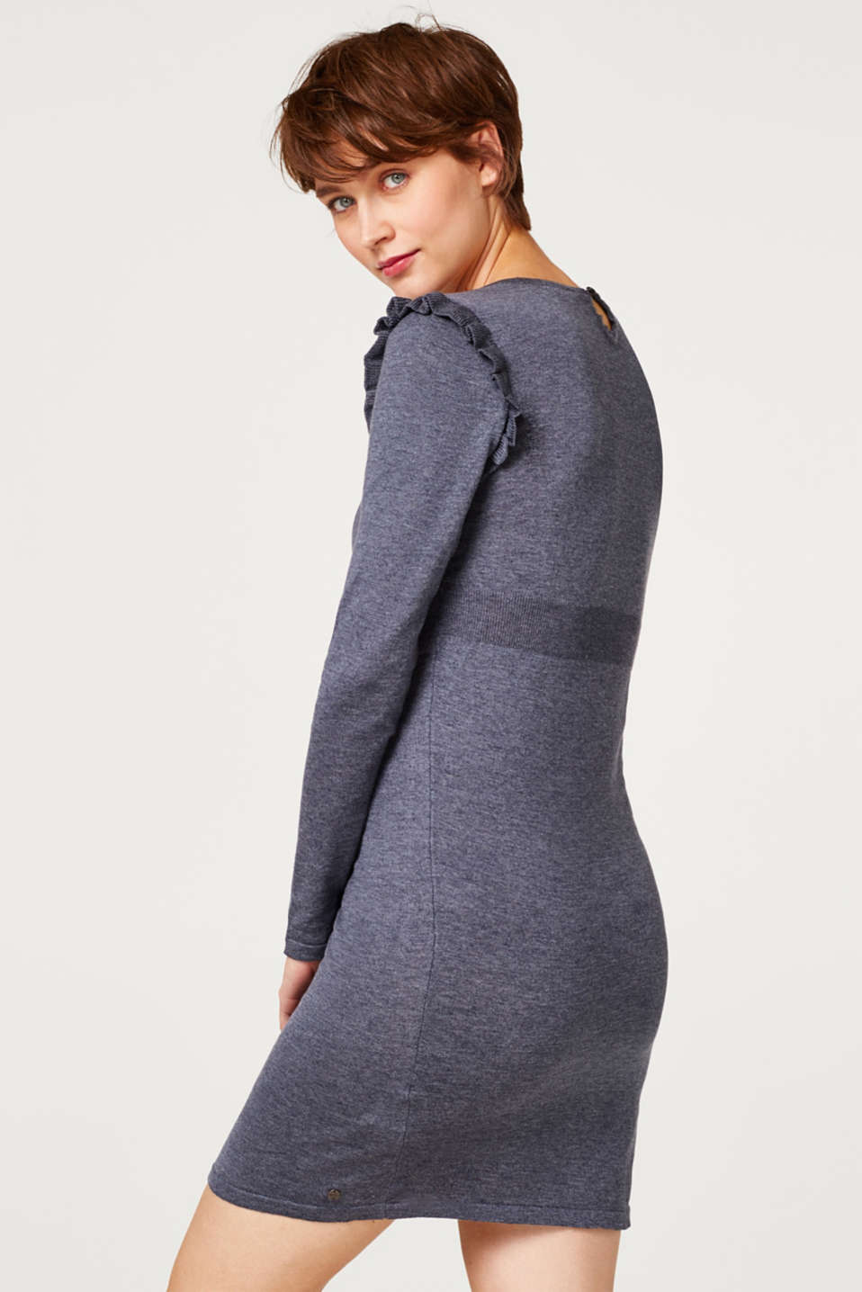 Knit frill detail dress, LCNIGHT BLUE, detail image number 2