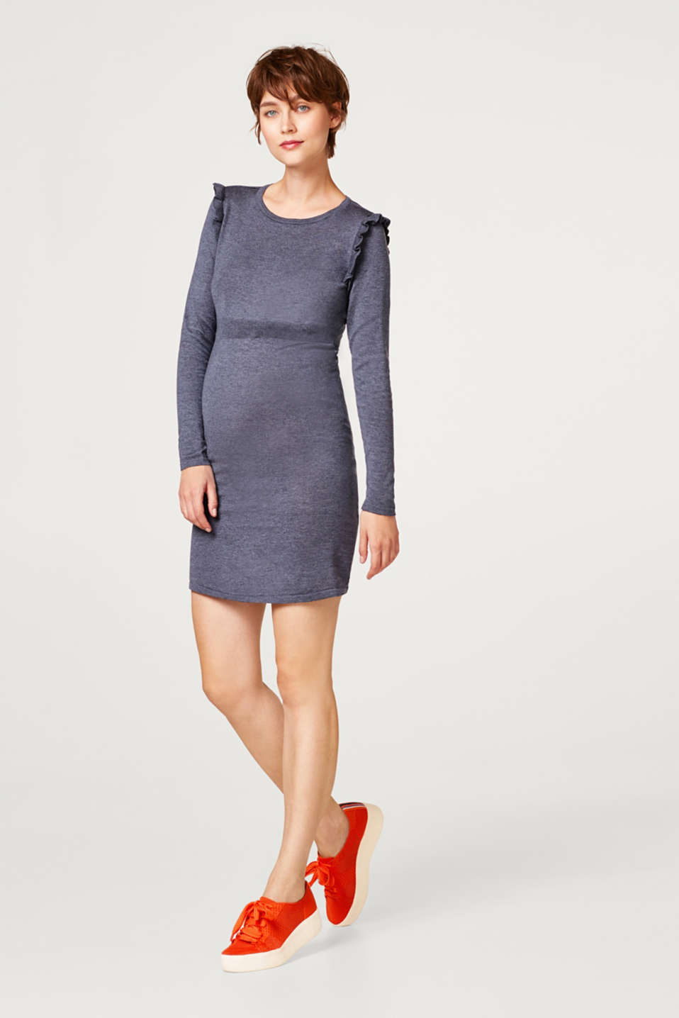 Knit frill detail dress, LCNIGHT BLUE, detail image number 1
