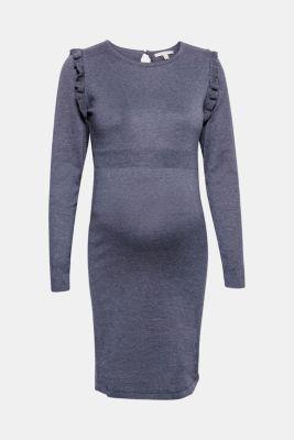Knit frill detail dress, LCNIGHT BLUE, detail