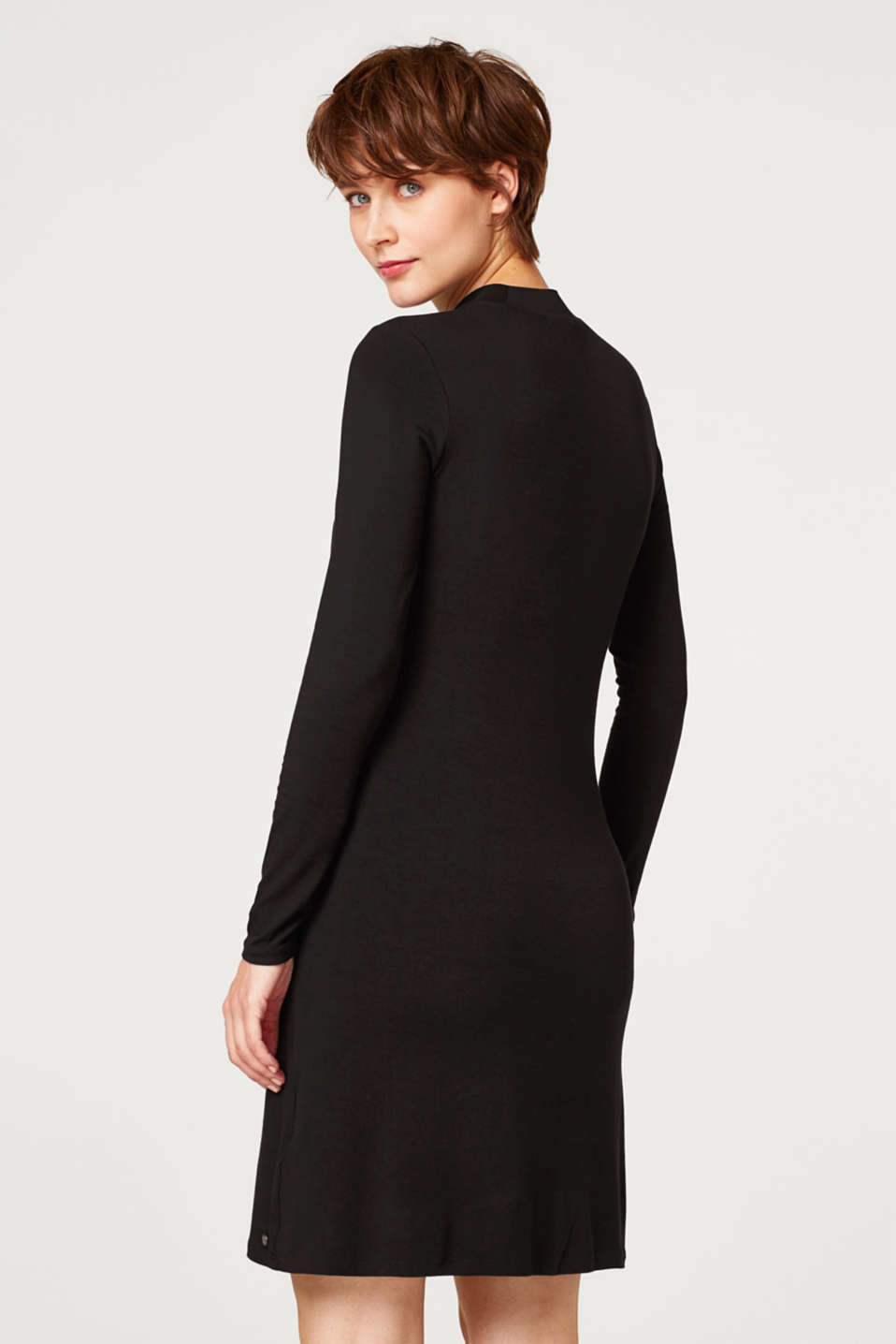 Stretch jersey dress with a stand-up collar, LCBLACK, detail image number 2